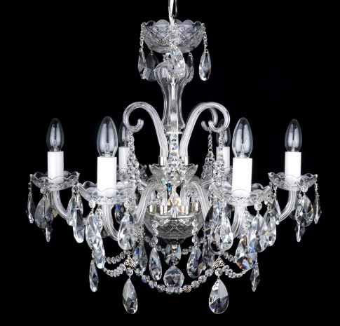 6 Arms Silver crystal chandelier with cut crystal almonds and glass horns