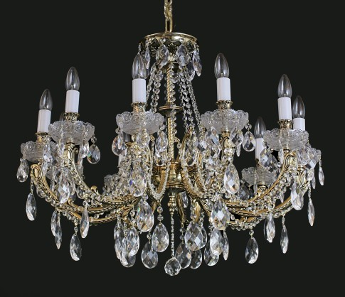 Luxury 10 Arms Crystal cast brass chandelier - Gold brass & PK500 hand cut