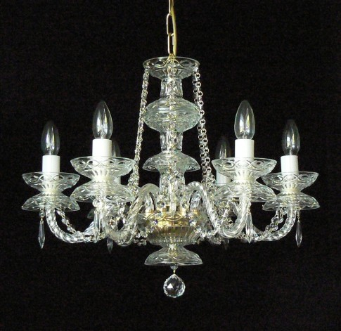 6 Arms simpe crystal chandelier with cut crystal drops