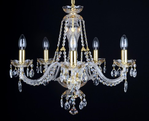 5 Arms gold decorated crystal chandelier with crystal almonds