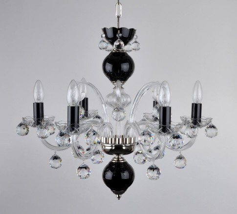 6 Arms Black Crystal chandelier with cut crystal balls - Silver