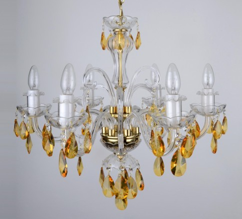 Yellow crystal chandelier with 6 candle bulbs