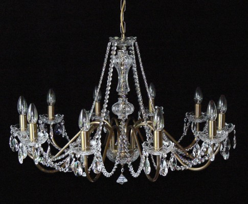 10 Arms plain crystal chandelier with cut crystal almonds ANTIK