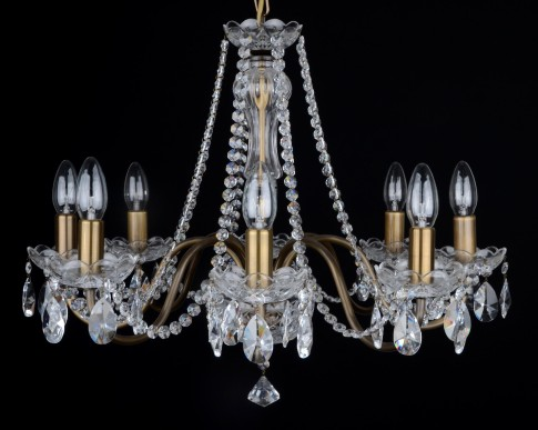 8 Arms plain crystal chandelier with cut crystal almonds ANTIK