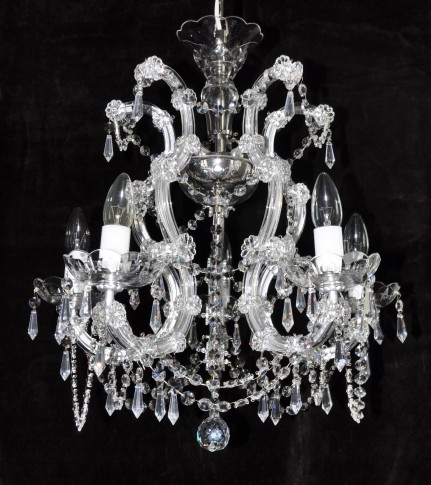 Silver 5 flames Maria Theresa cŕystal chandelier