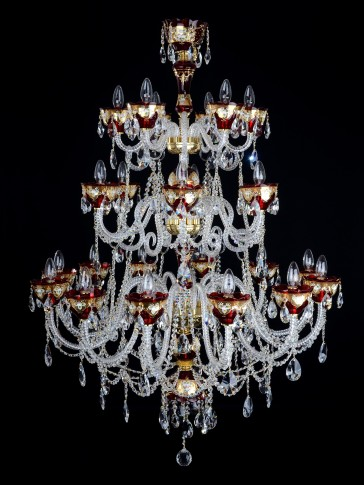 Big 24 Arms Ruby red enameled crystal chandelier with HE glass flowers