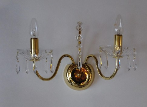 2 Arms tubular brass crystal wall light with cut crystal drops