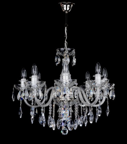 Bohemian 8 Arms Crystal chandelier with smooth glass arms - Silver metal