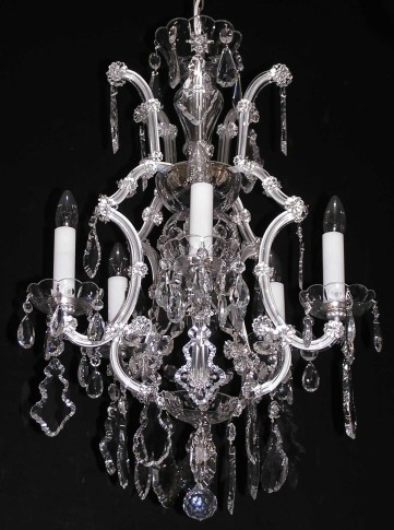 5+1 Bulb Silver Maria Theresa chandelier