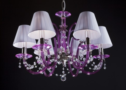 Purple modern crystal chandelier