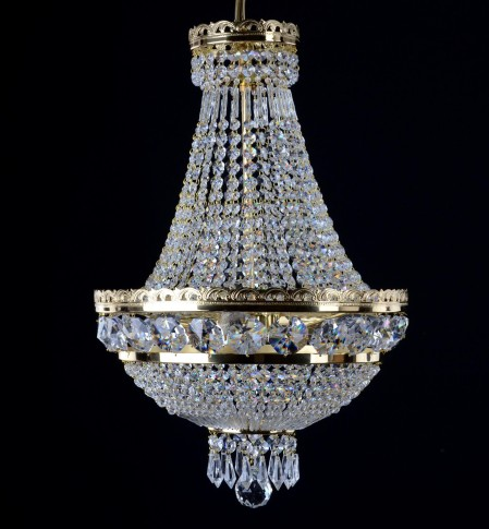 3 bulbs Strass basket crystal chandelier with large cut octagons & crystal drops