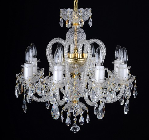 8 Arms Crystal chandelier with long twisted glass arms