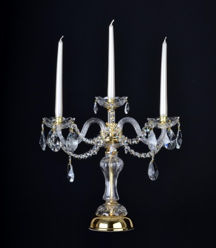 3 Arms crystal candlestick with cut almonds - decorative table crystal light