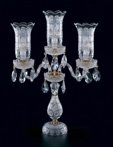 Luxurious Bohemian crystal lamp on table