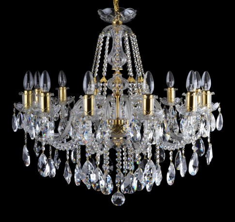 12-bulb crystal chandelier with golden metal