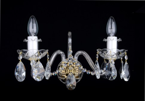 2 Arms crystal wall light with cut almonds