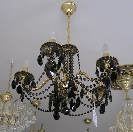 The 5 Arms Gold & Black cast brass chandelier - Highlighted relief & Black almonds