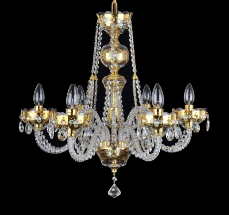6-arm GOLD crystal chandelier with glass flowers