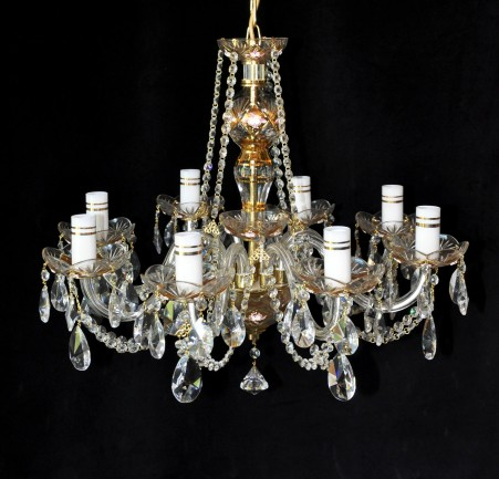 The 8 arms custom-made crystal chandelier - enameled flowers