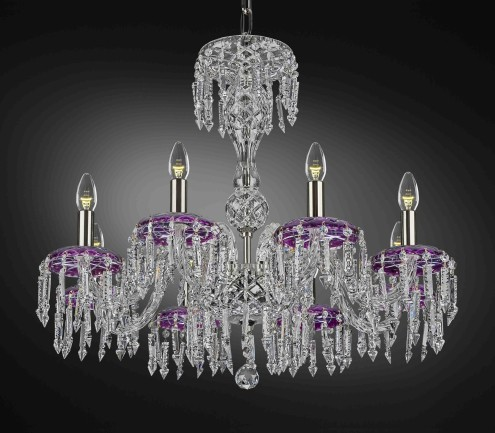 Purple crystal chandelier with silver metal