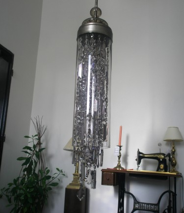 Design tubular crystal chandelier made of smoky glass