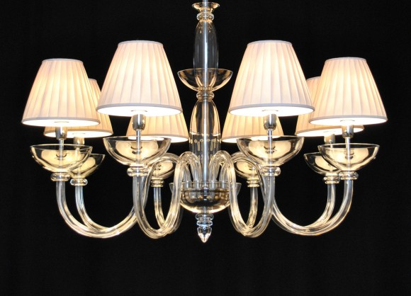 The design smooth glass chandelier with lampshades 8 bulbs