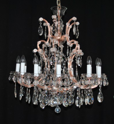 The custom-made 12+1 bulbs Maria Theresa chandelier - imitation of red copper