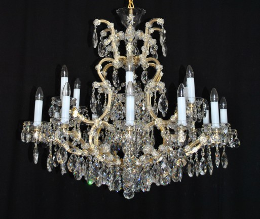 The 18 flames Maria Theresa chandelier - standard gold brass