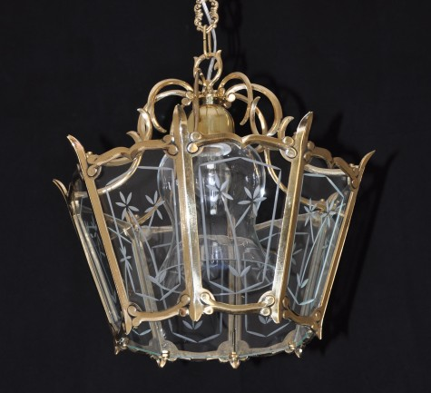 Cast brass lantern with hand cut flat glass