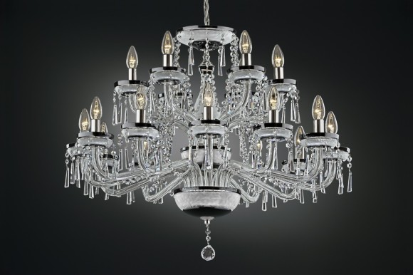 18-arms Black crystal chandelier cased glass