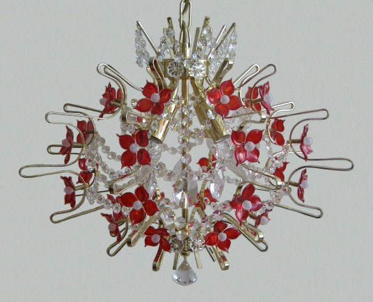 The design chandeliers decorated with hand made red glass flowers