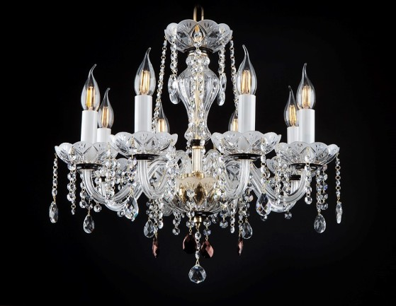 Black&White 8-arm luxury finely and deeply ground crystal chandelier with red almonds