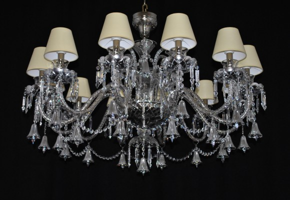 The custom-made 12 arms Silver crystal chandelier - reduced for the low ceiling