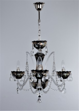 The combination of silver high-enamel decoration and shiny silver metal chandelier parts excel on the black (hyalite) glass.