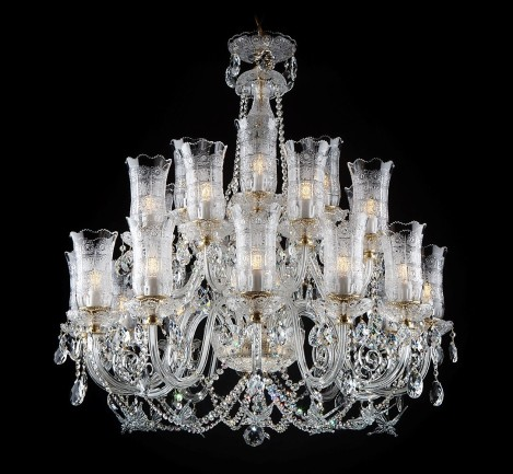 Large Bohemian crystal chandelier with butterflies