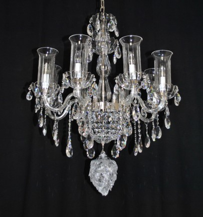 "The custom-made 8 bulbs crystal chandelier ""hop glass cone"""