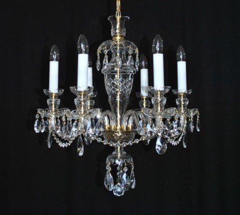 The hand blown and hand cut chandelier 6 arms in the original style of Kamenicky Senov