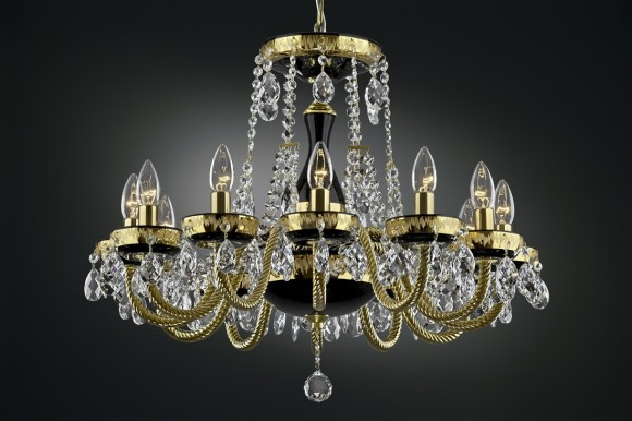 The Black crystal chandelier with glossy gold decoration