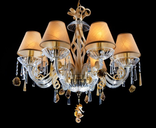 Amber glass chandelier with sea shells