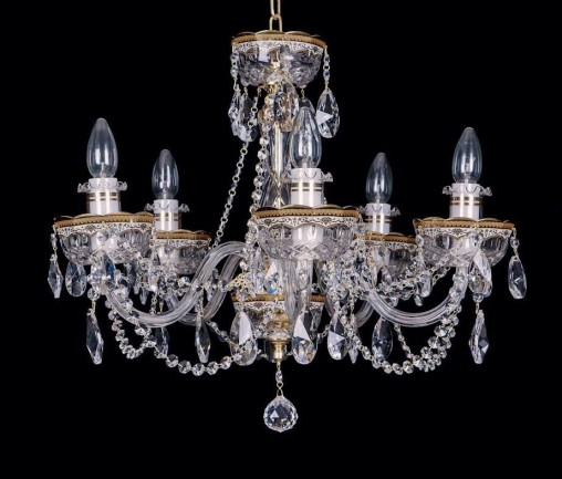 Crystal chandelier with Astra Gold ® metal layer
