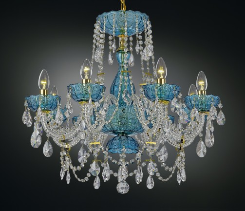 Blue crystal chandelier with PK500 hand cut
