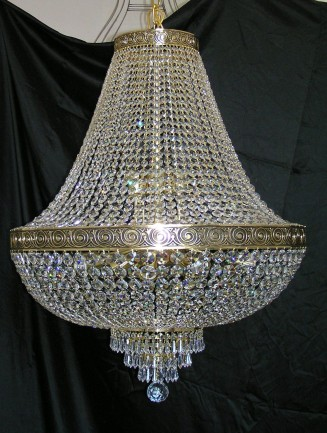 The 18 bulbs Srass basket crystal chandelier with with the cast brass belt