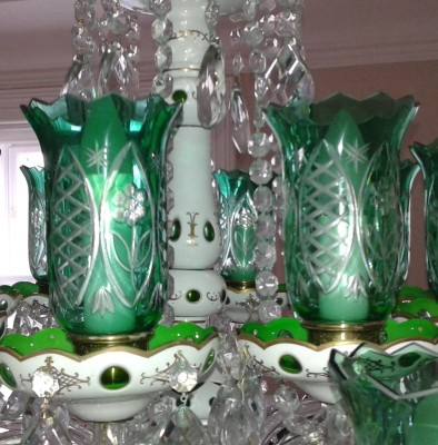 Lighting vases - Green cased glass