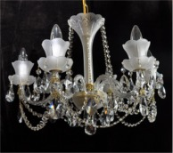 Sand blasted crystal chandelie with gold brass metal parts