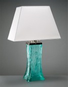 Green table lamp made of glass colored by iron