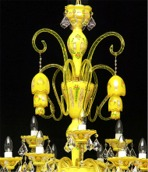 Crystal chandelier made of uranium and opal glass detail