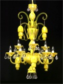 Crystal chandelier made of uranium and opal glass