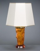 Orange Table Lamp (Amber glass) - Octagonal lampshade