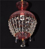 Ruby basket crystal chandelier - red cased hand cut glass