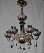 "Ruby crystal chandelier - ""frost"" hand cut"